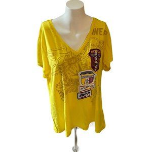 Rocawear 1999 Womens Yellow V Neck T Shirt Size 3X